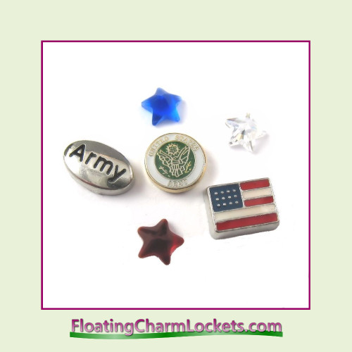 FCL Designs Army Floating Charm Combination for Lockets