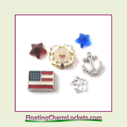 FCL Designs Coast Guard Floating Charm Combination for Lockets