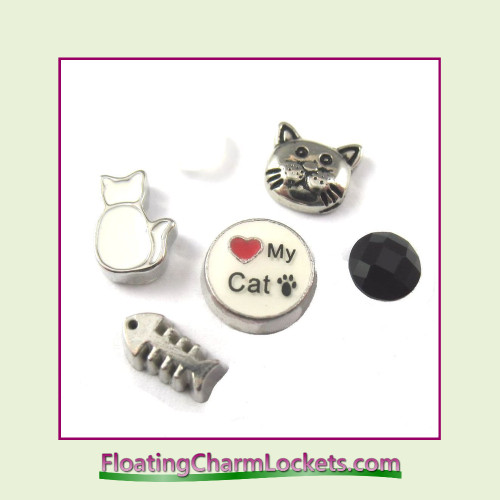 FCL Designs Love My Cat Floating Charm Combination for Lockets