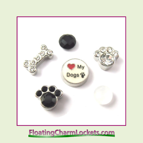 FCL Designs Love My Dogs Floating Charm Combination for Lockets