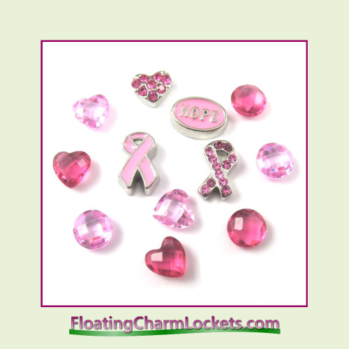 FCL Designs Breast Cancer Awareness Floating Charm Combination for Lockets