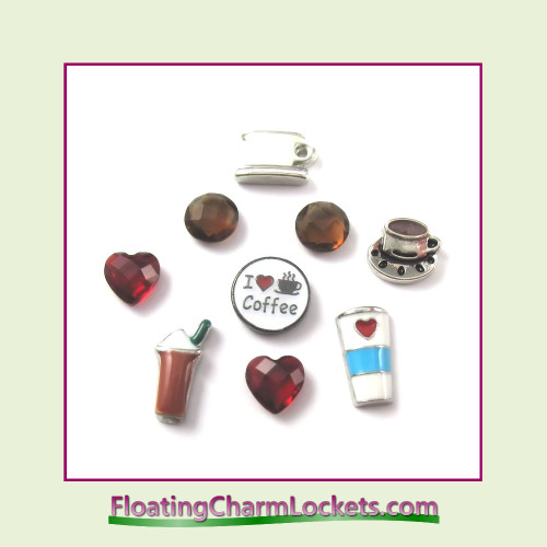 FCL Designs Coffee Lover Floating Charm Combination for Lockets