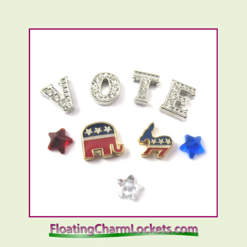 FCL Designs Election Day Floating Charm Combination for Lockets
