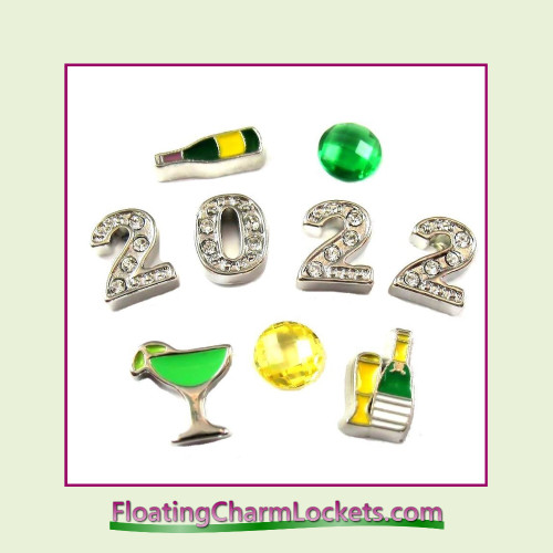 New Year's Eve Floating Charm Combination