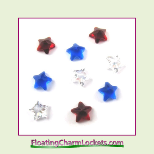 FCL Designs Patriotic Star Crystals Floating Charm Combination for Lockets