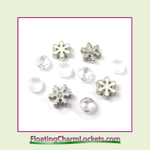 FCL Designs Snowflake Floating Charm Combination for Lockets
