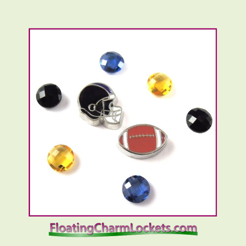 FCL Designs Football Team Floating Charm Combo #03 - Baltimore