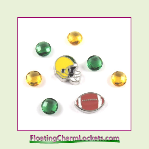 FCL Designs Football Team Floating Charm Combo #12 - Green Bay