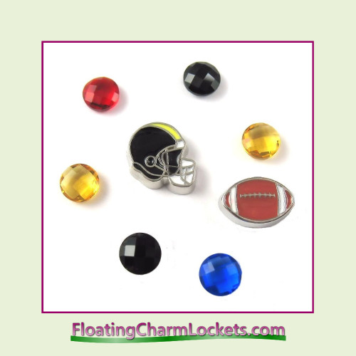 FCL Designs Football Team Floating Charm Combo #25 - Pittsburgh