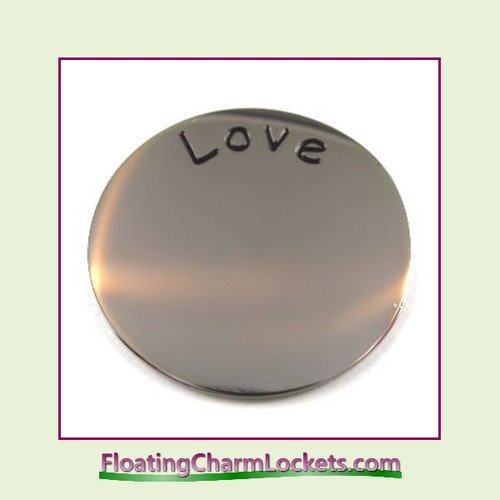 Love Back Plate (Silver) for Large Round Stainless Steel Locket