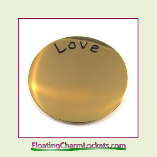 Love Back Plate (Gold) for Large Round Stainless Steel Locket