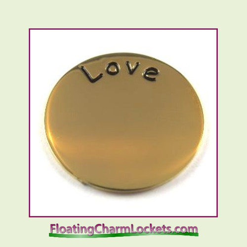 Love Back Plate (Gold) for Medium Round Stainless Steel Locket