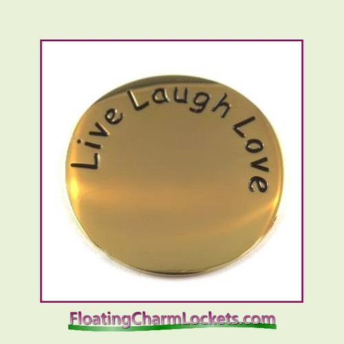 Live Laugh Love Back Plate (Gold) for Large Round Stainless Steel Locket