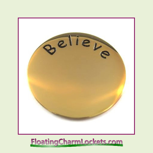 Believe Back Plate (Gold) for Medium Round Stainless Steel Locket