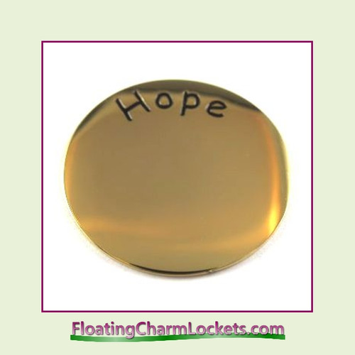 Hope Back Plate (Gold) for Large Round Stainless Steel Locket