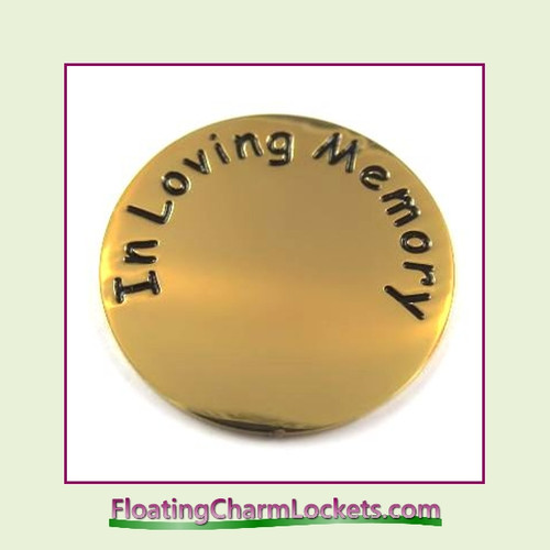 In Loving Memory Back Plate (Gold) for Large Round Stainless Steel Locket