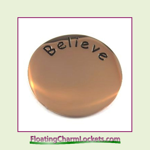 Believe Back Plate (Rose) for Large Round Stainless Steel Locket