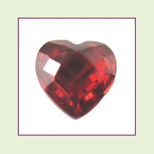 CZH01 - January Red Garnet Heart Crystal Birthstone – 5mm – For Floating Lockets