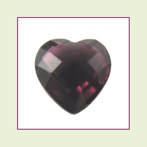 CZH02a - February Dark Amethyst Heart Crystal Birthstone - 5mm - For Floating Lockets