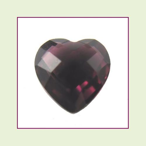 CZH02a - February Dark Amethyst Heart Crystal Birthstone - 5mm - For Floating Lockets