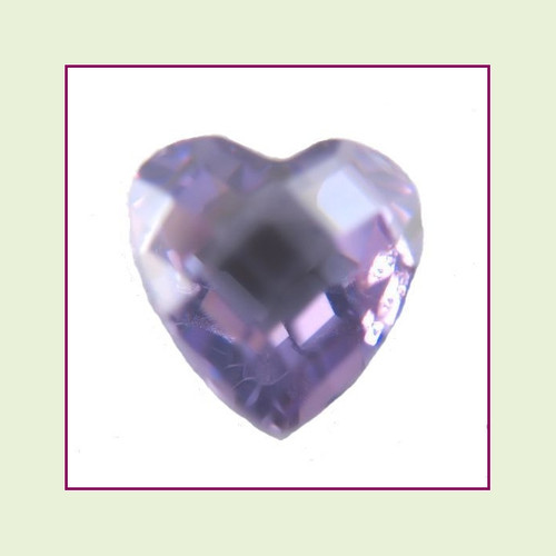 CZH02b - February Light Amethyst Heart Crystal Birthstone - 5mm - For Floating Lockets
