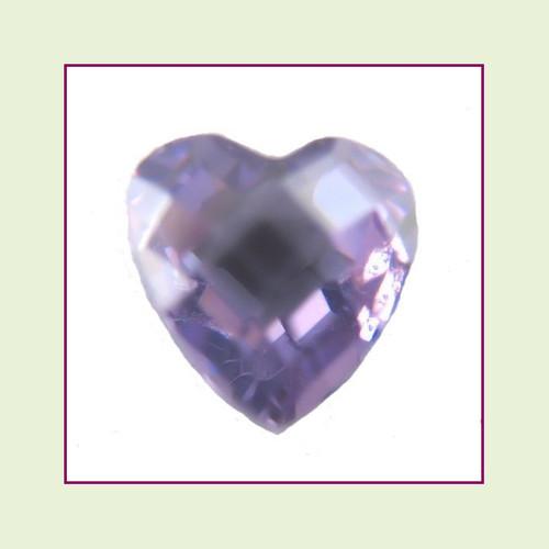 CZH02b - February Light Amethyst Heart Crystal Birthstone - 5mm - For Floating Lockets