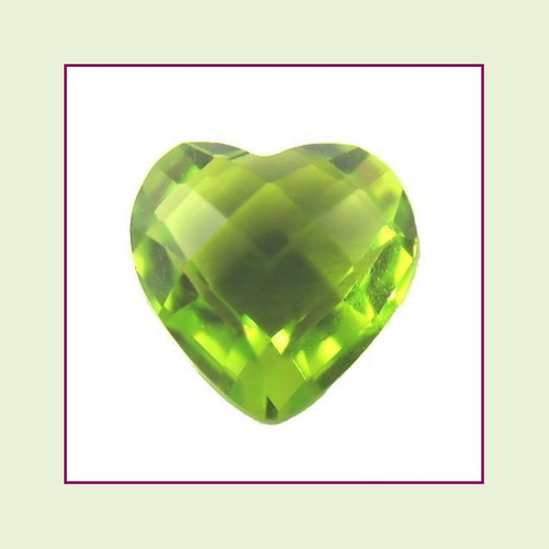 CZH08a - August Bright Peridot Heart Crystal Birthstone – 5mm – For Floating Lockets