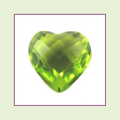 CZH08a - August Bright Peridot Heart Crystal Birthstone – 5mm – For Floating Lockets