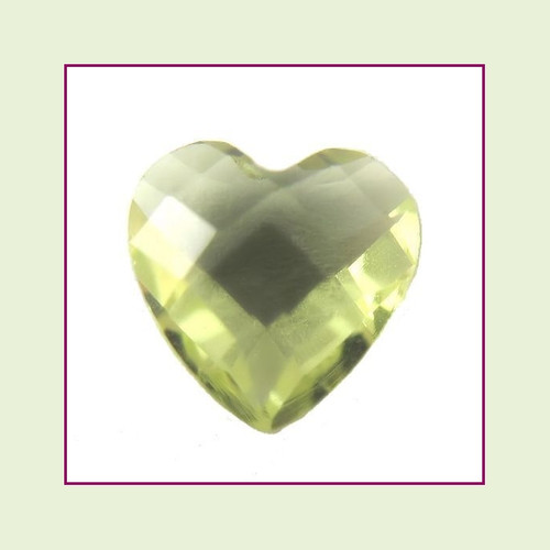 CZH08b - August Pale Peridot Heart Crystal Birthstone – 5mm – For Floating Lockets