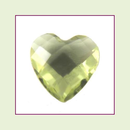 CZH08b - August Pale Peridot Heart Crystal Birthstone – 5mm – For Floating Lockets