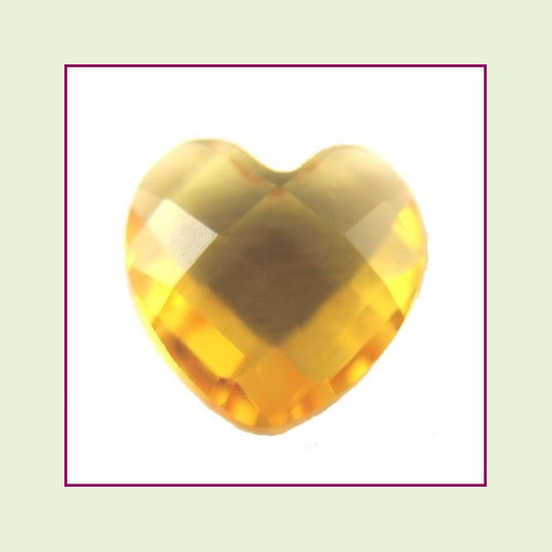 CZH11a - November Gold Topaz Heart Crystal Birthstone – 5mm – For Floating Lockets