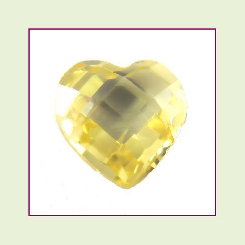 CZH11b - November Yellow Topaz Heart Crystal Birthstone – 5mm – For Floating Lockets