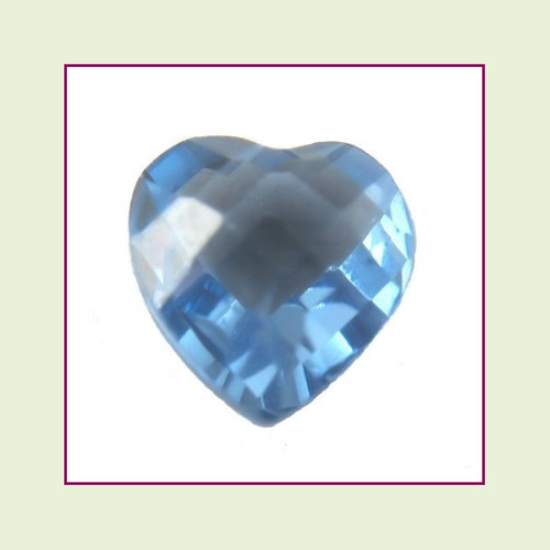 CZH12b - December Blue Zircon Heart Crystal Birthstone – 5mm – For Floating Lockets