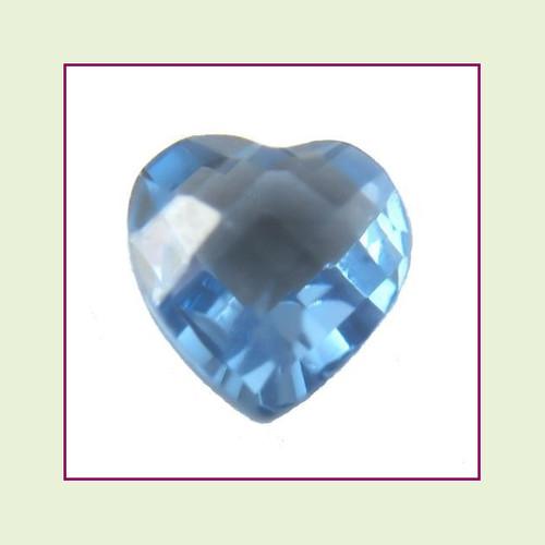 CZH12b - December Blue Zircon Heart Crystal Birthstone – 5mm – For Floating Lockets