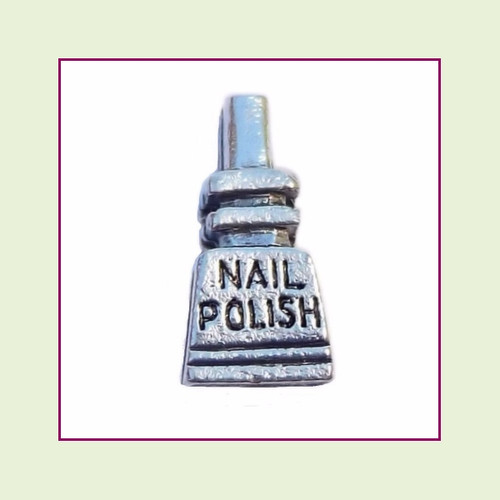 Nail Polish Bottle Silver Floating Charm