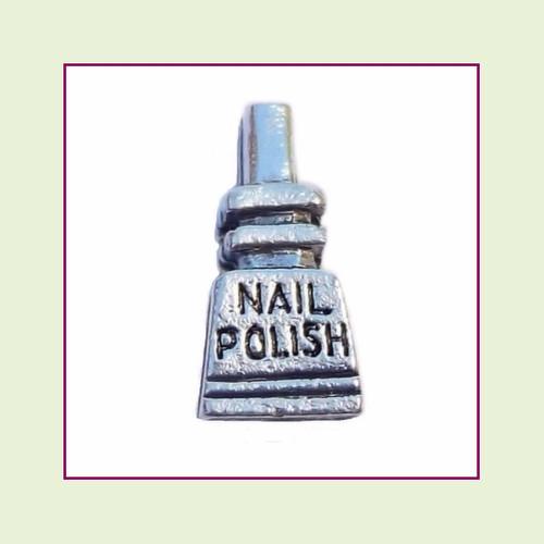 Nail Polish Bottle Silver Floating Charm