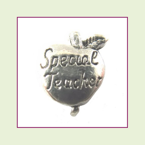 Special Teacher Silver Apple Floating Charm
