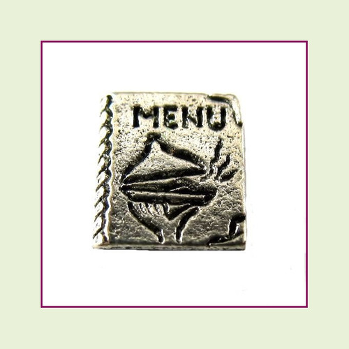 Dinner Menu Silver Floating Charm