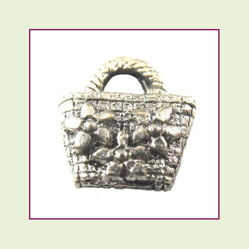 Purse Silver Floral Floating Charm