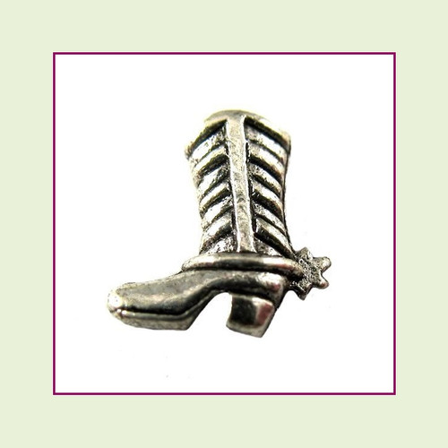 Cowboy Boot Silver Floating Charm