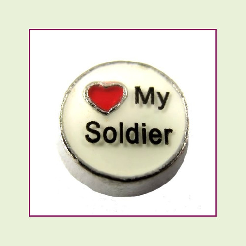 Love My Soldier (Silver Base) Floating Charm