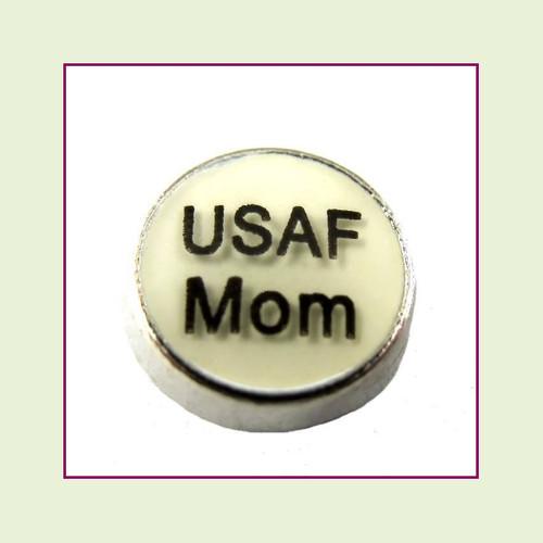 USAF Mom White Round (Silver Base) Floating Charm