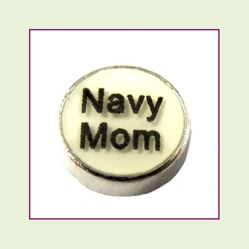Navy Mom White Round (Silver Base) Floating Charm