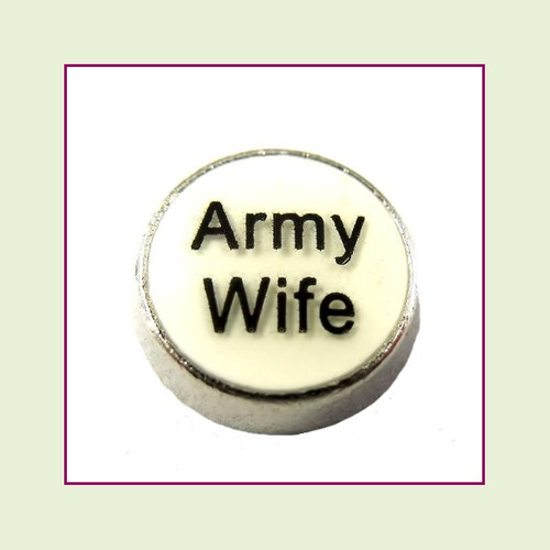 Army Wife White Round (Silver Base) Floating Charm
