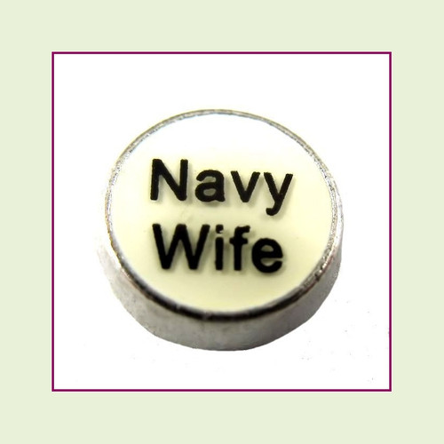 Navy Wife White Round (Silver Base) Floating Charm