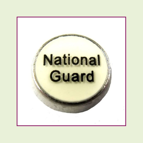 National Guard White Round (Silver Base) Floating Charm