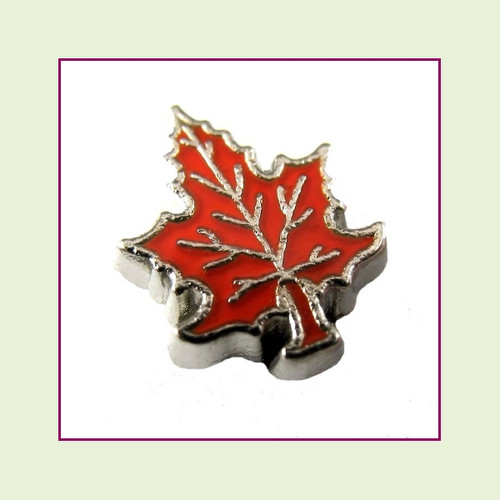 Fall Leaf #2 Orange (Silver Base) Floating Charm