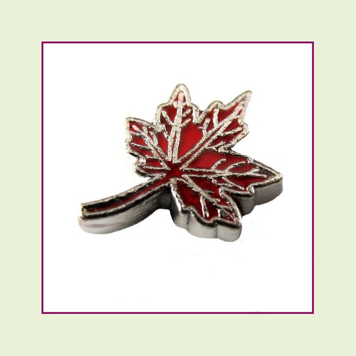 Fall Leaf #4 Red (Silver Base) Floating Charm