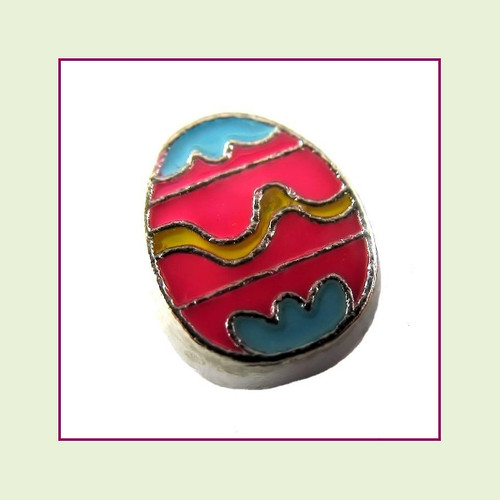 Easter Egg Pink (Silver Base) Floating Charm