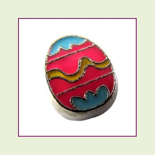 Easter Egg Pink (Silver Base) Floating Charm